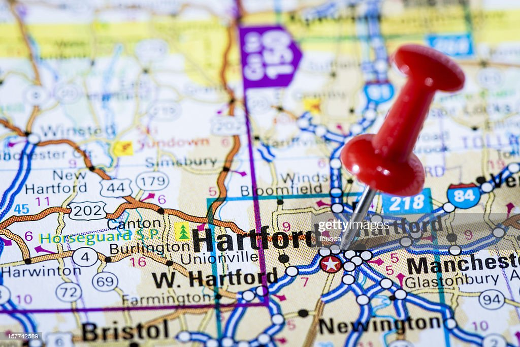 Us Capital Cities On Map Series Hartford Connecticut Ct Stock - Ct on us map