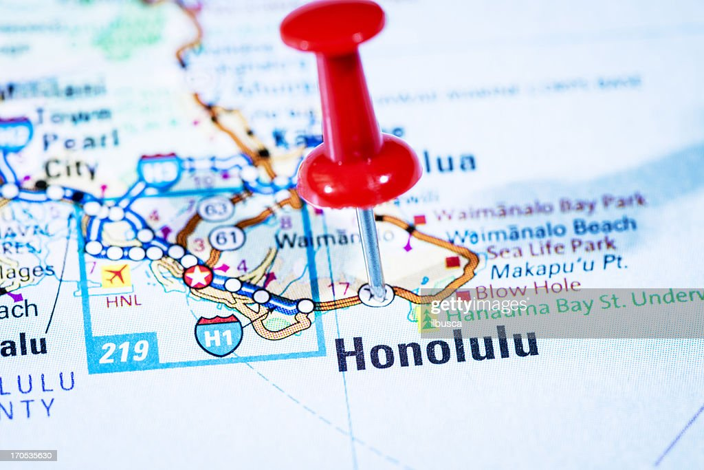 Us Capital Cities On Map Series Honolulu Hawaii Hi Stock Photo - Hawaii cities map