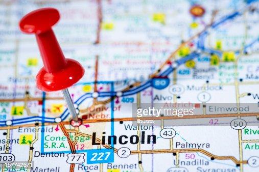 US capital cities on map series: Lincoln, Nebraska, NE