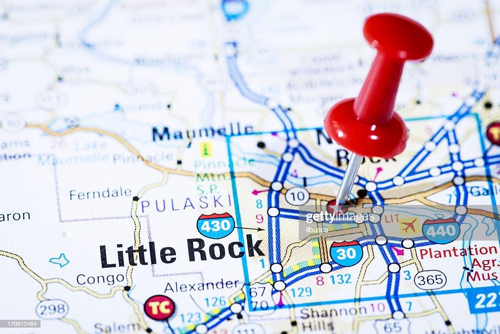 Us Capital Cities On Map Series Little Rock Arkansas Ar Stock - Arkansas map with cities