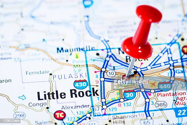 US capital cities on map series: Little Rock, Arkansas, AR