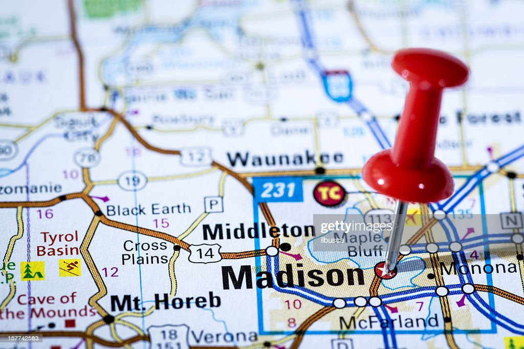 Us Capital Cities On Map Series Madison Wisconsin Wi Stock Photo - Us map with capital cities