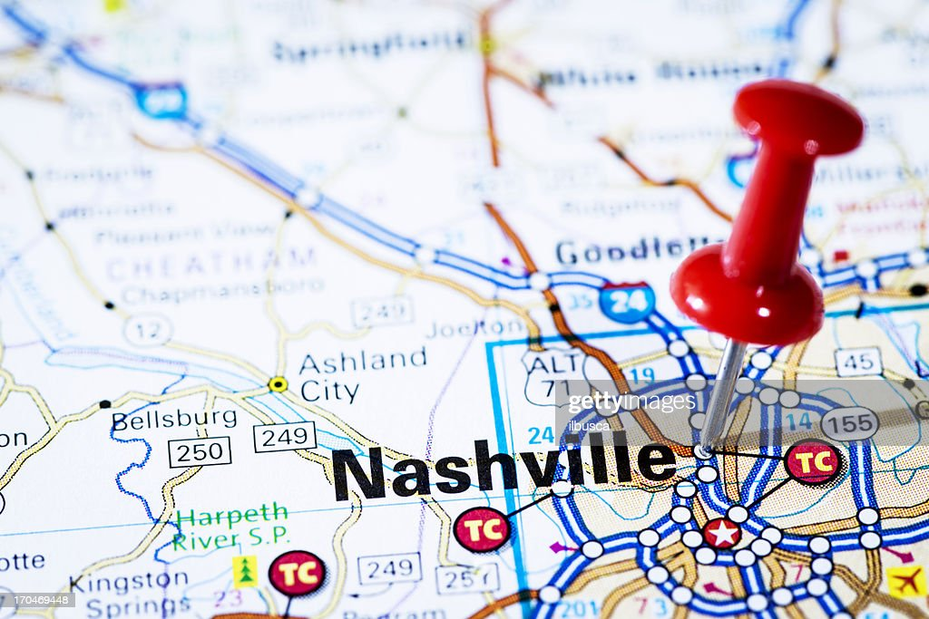 Us Capital Cities On Map Series Nashville Tennessee Tn Stock Photo - Capital cities on map of us