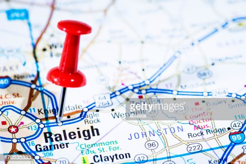 US capital cities on map series: Raleigh, North Carolina, NC