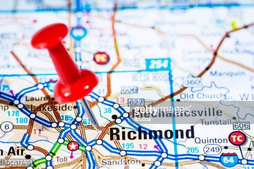 Us Capital Cities On Map Series Richmond Virginia Va Stock Photo - Map us va