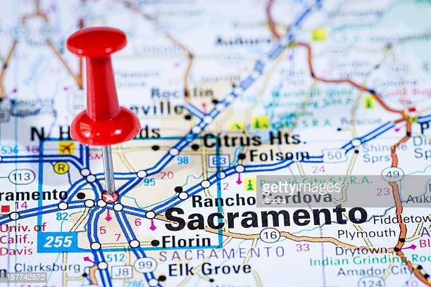 US capital cities on map series: Sacramento, California, CA