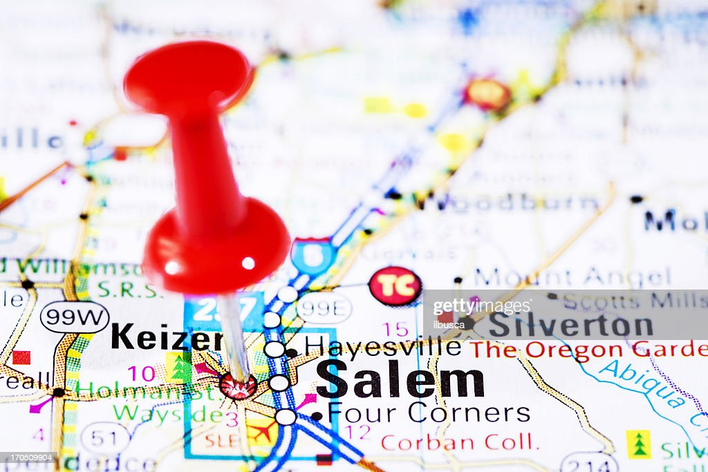 Us Capital Cities On Map Series Salem Oregon Or Stock Photo - Capital cities on map of us