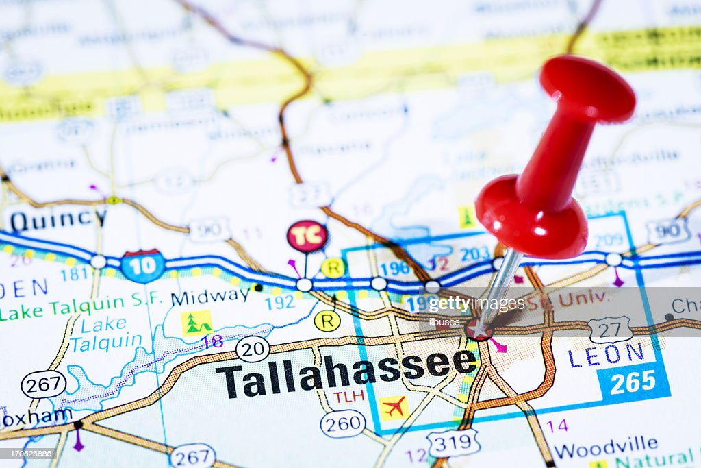 Us Capital Cities On Map Series Tallahassee Florida Fl Stock Photo - Florida on us map