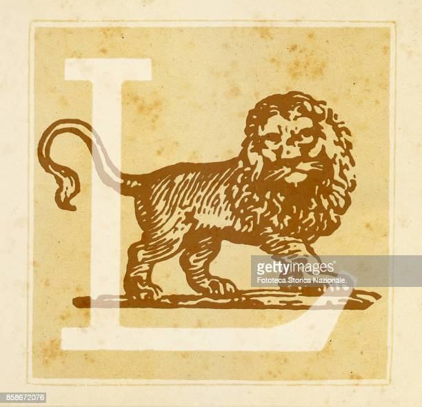 Capital letter L with Zodiacal Sign of the Lion Digital illustration realized by assembling 19th century printing elements by Elena Piccini Italy...