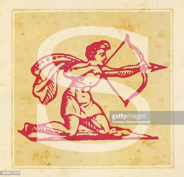 Capital letter S with Sagittarius zodiac sign Digital illustration realized by assembling 19th century printing elements by Elena Piccini Italy Milan...