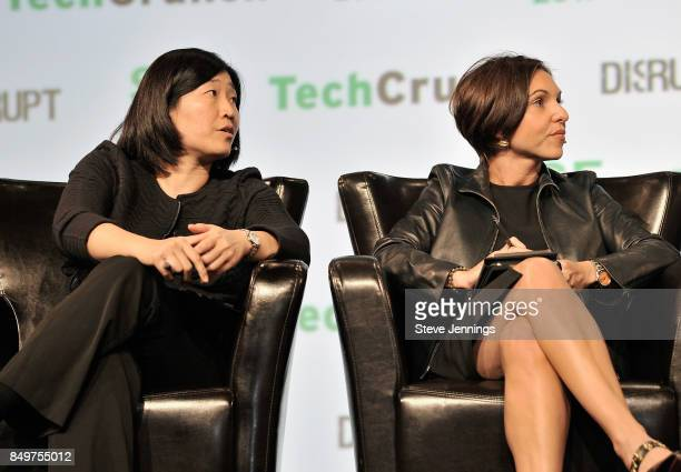 Capital Managing Partner Jenny Lee and Canaan Partners General Partner Nina Kjellson judge the Startup Battlefield Competition during TechCrunch...