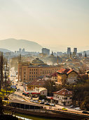 A panorama of an beautiful European city, Sarajevo
