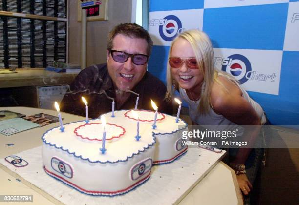 Capital Radio disc jockey Dr Fox with Spice Girl Emma Bunton blow out candles on a birthday cake at the radio station's London studio to mark the 8th...
