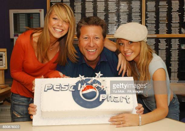 Capital Radio DJ Dr Fox and Atomic Kitten's Liz McClarnon and Jenny Frost after blowing out candles on a birthday cake at the Capital Radio studio in...