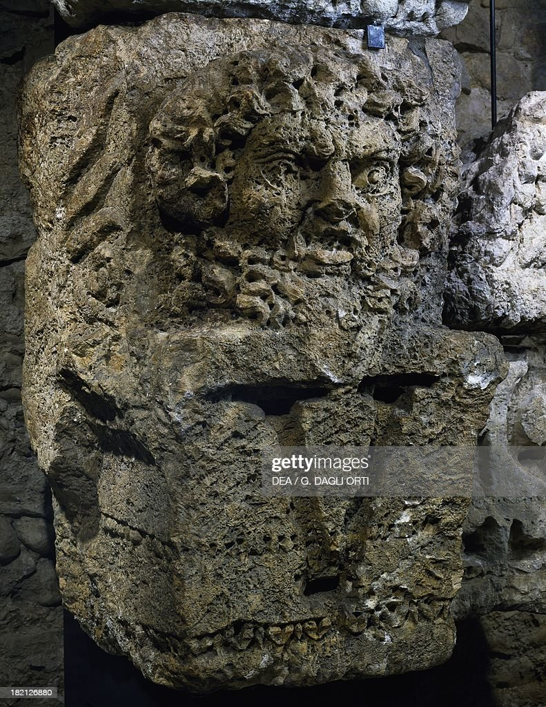 Capital with a relief of JupiterAmmon uncovered from the external facade of the Civil Basilica of Noviodunum Switzerland Roman Civilisation 1st...