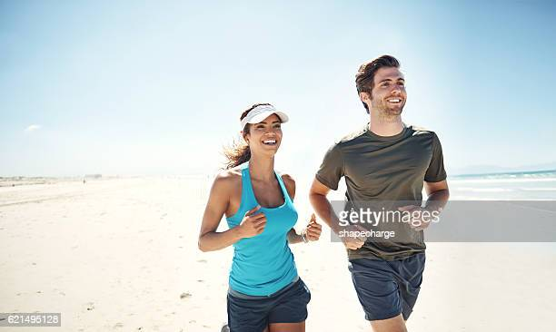 Capitalising on the beauty of the beach in their workout