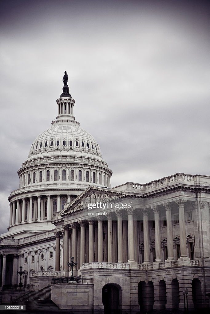 Capitol Building in Washington DC on Overcast Cloudy Day : Stock Photo