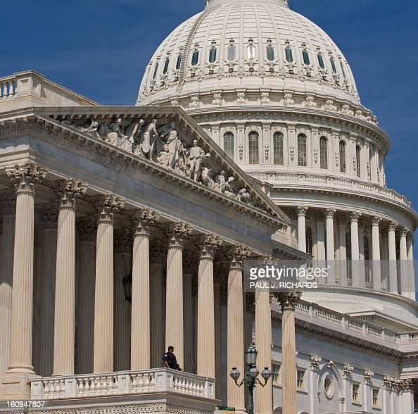 A Capitol Hill Police Officer stands guard on the steps of the US House of Representatives on September 15 2009 on Captiol Hill in Washington AFP...
