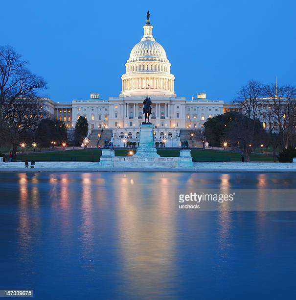 US Capitol lit up at night in washing DC
