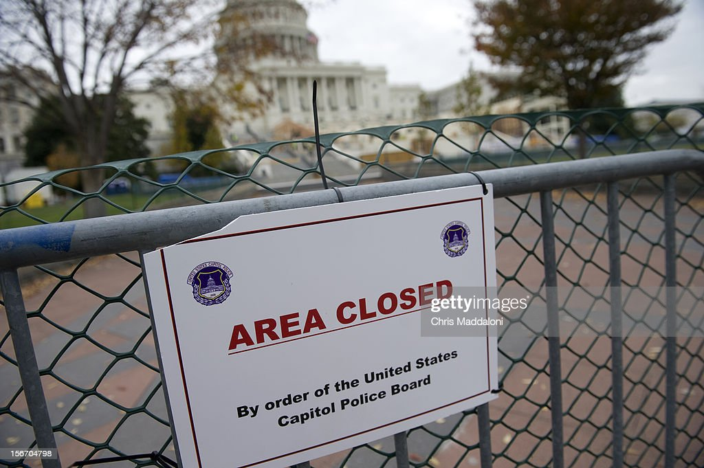 U.S. Capitol Police have closed off much of the West Front of the U.S. Capitol as workers prepare the stands for the inauguration of the President Barack Obama.