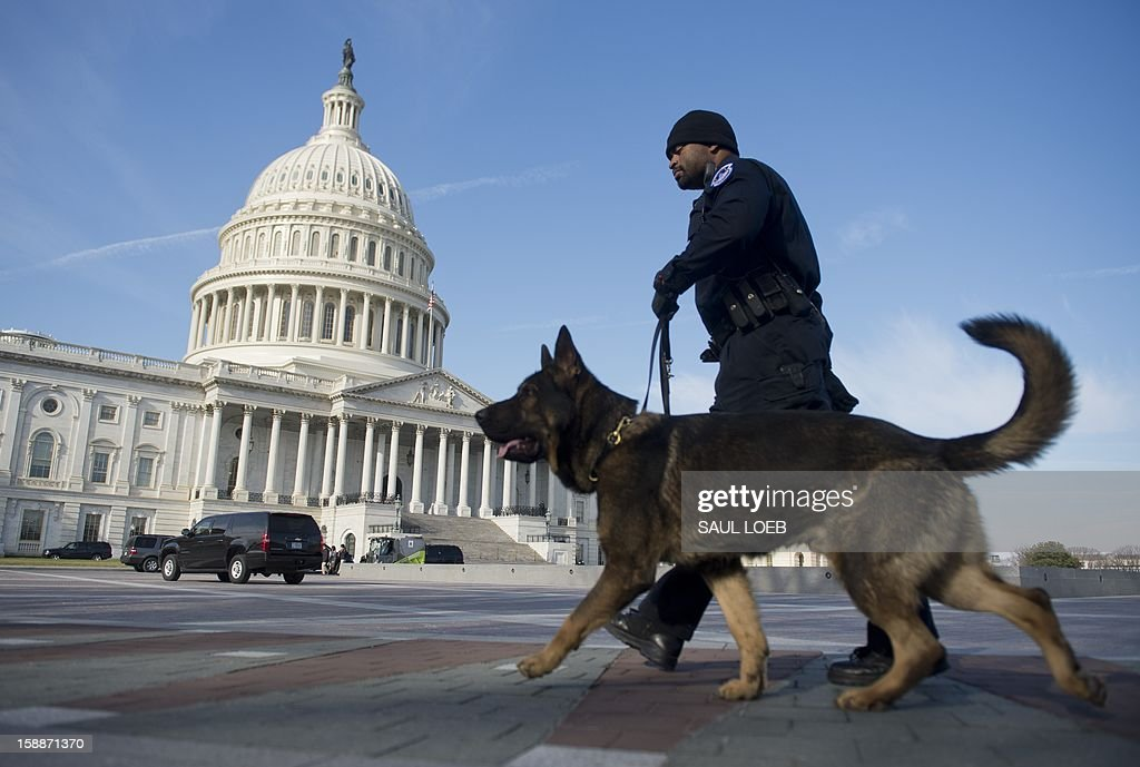 Capitol Police Officer and a police dog patrol in front of the US Capitol in Washington, DC, on January 2, 2013, on the day after a compromise bill passed the US Congress, avoiding the 'fiscal cliff.' The agreement raises taxes on the rich and puts off automatic $109 billion federal budget cuts for two months. AFP PHOTO / Saul LOEB