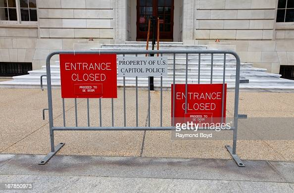 Capitol Police Signage sits outside the Cannon House Office Building in Washington D C on APRIL 19
