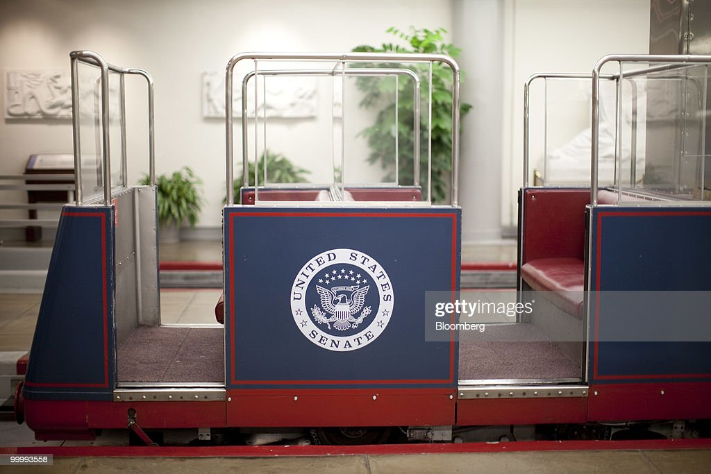 A Capitol subway car sits in the basement of the Capitol building in Washington, D.C., U.S., on Monday, May 17, 2010. The Capitol is the meeting place for the Senate and House of Representatives. Photographer: Andrew Harrer/Bloomberg via Getty Images