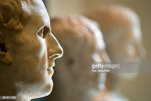 Capitoline Museum in Palazzo dei Conservatori One of three marble busts displayed in a row