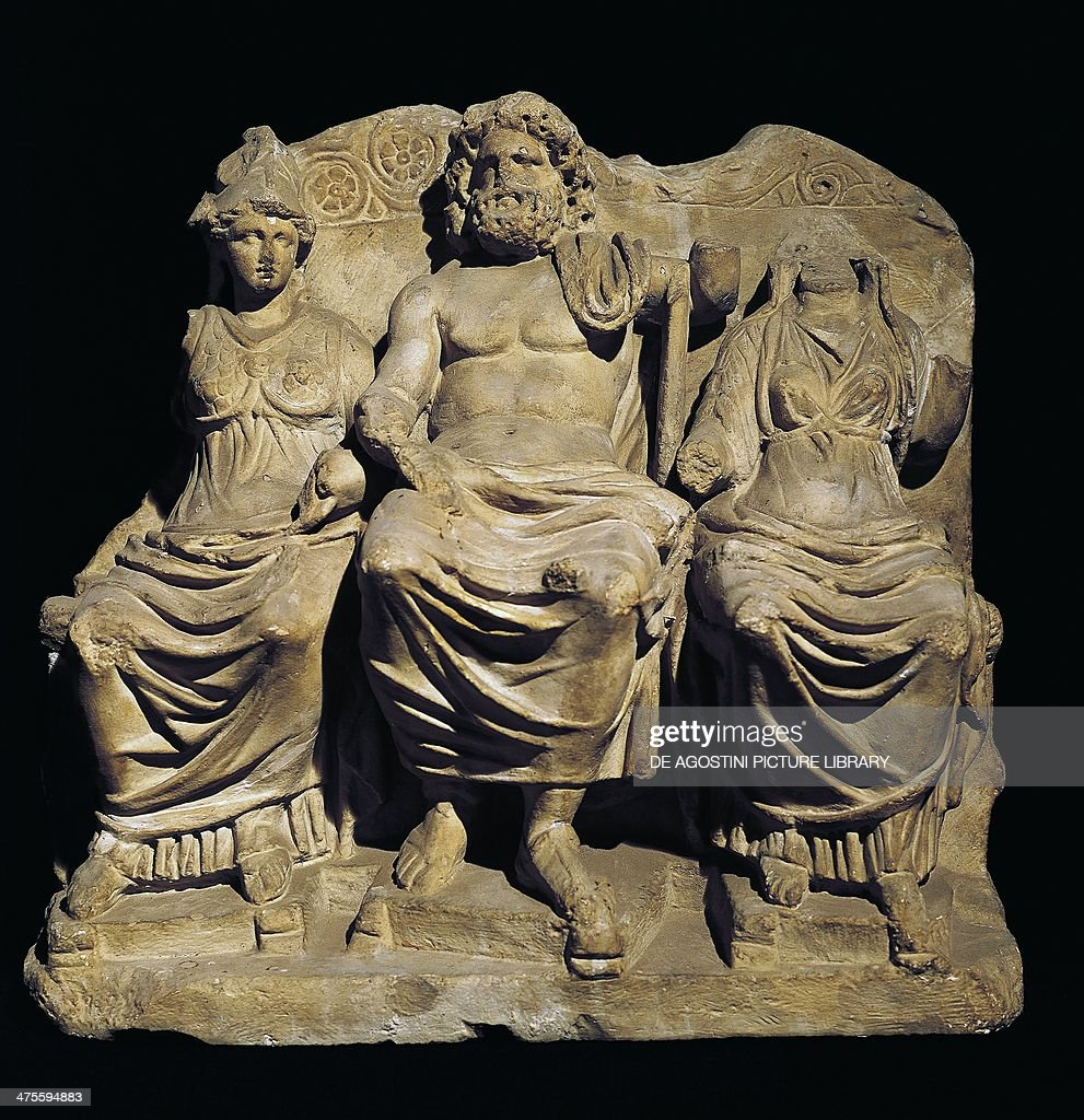 Capitoline Triad Jupiter Juno and Minerva seated on the throne from Trier Roman civilisation 2nd century Rome Museo Della Civiltà Romana