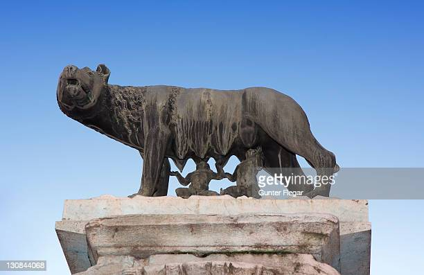 Capitoline wolf nurses the boy Romulus and Remus, Rome, Italy