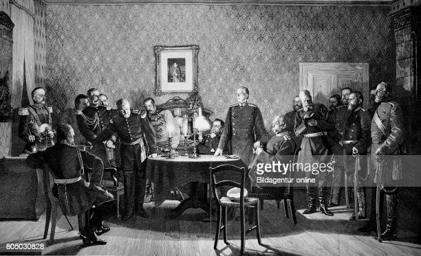 Capitulation surrender negotiation Franco Prussian War at Donchery France September 1870 with Napoleon III and Otto von Bismarck