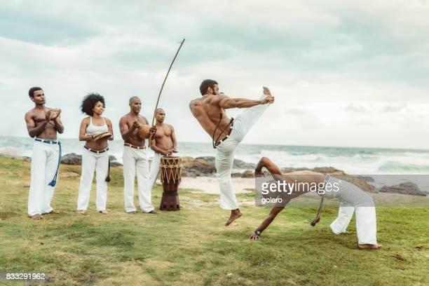 capoeira at beach in Salvador Brazil