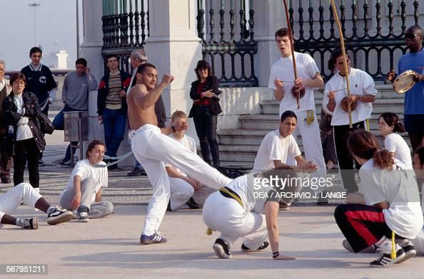 Capoeira performance in Praca do Comercio also known as Terreiro do Paco Lisbon Estremadura historical Province Portugal