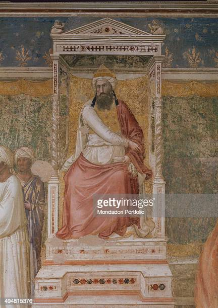 Cappella Bardi by Giotto di Bondone c 1325 14th Century fresco Italy Tuscany Florence Basilica of Santa Croce Detail Trial by fire sultan enthroned...