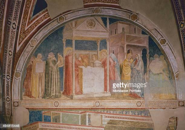 Cappella Peruzzi by Giotto di Bondone c 13181322 14th Century fresco Italy Tuscany Florence Basilica of Santa Croce Detail Annunciation to Zechariah...
