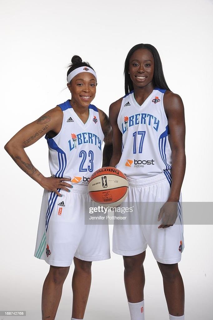 Cappie Pondexter #23 and Essence Carson #17 of the New York Liberty pose for a photo during WNBA Media Day on May 13, 2013 at the Madison Square Garden Training Facility in Tarrytown, New York.