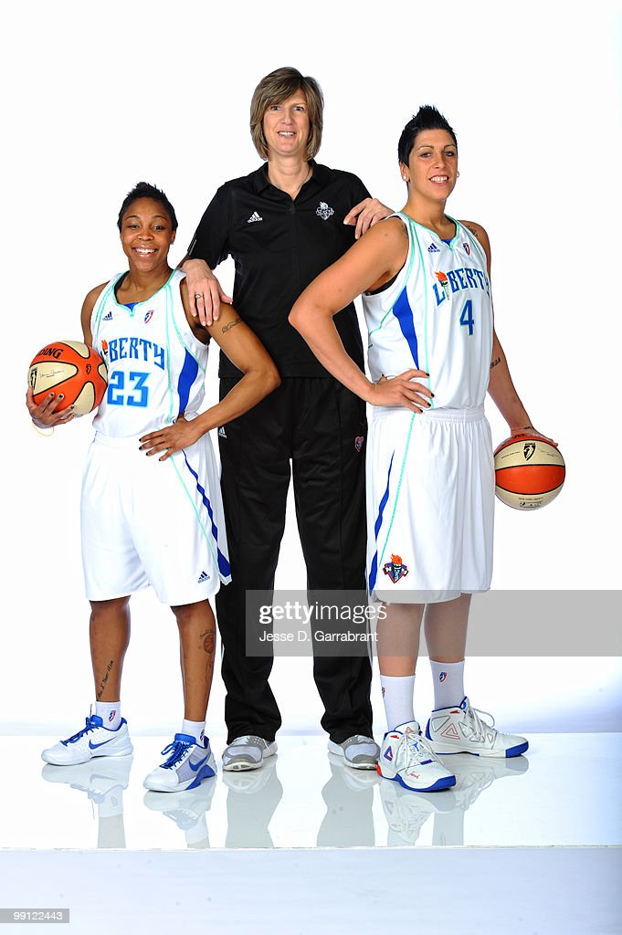 Cappie Pondexter Janel McCarville and Anne Donovan of the New York Liberty pose for a photo during WNBA Media Day on May 12 2010 at the MSG Training...