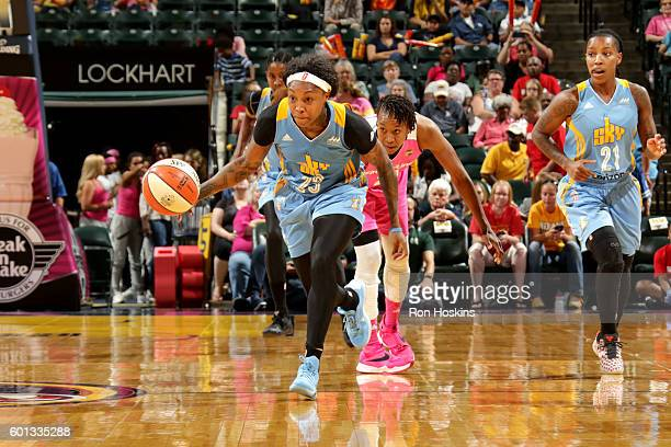 Cappie Pondexter of the Chicago Sky brings the ball up court during the game against the Indiana Fever during their WNBA game at Bankers Life...