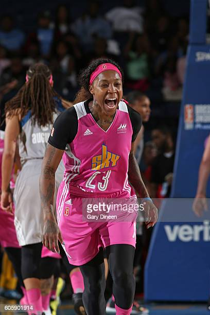 Cappie Pondexter of the Chicago Sky celebrates during the game against the Minnesota Lynx on September 13 2016 at the Allstate Arena in Rosemont...