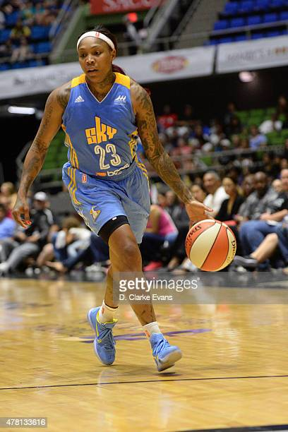 Cappie Pondexter of the Chicago Sky dribbles the ball against the San Antonio Stars on June 20 2015 at Freeman Coliseum in San Antonio Texas NOTE TO...