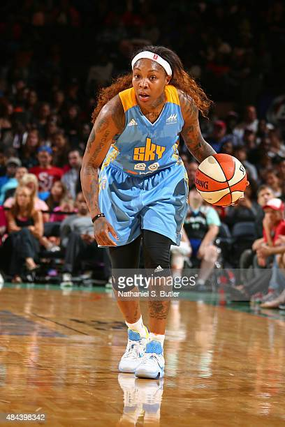 Cappie Pondexter of the Chicago Sky dribbles the ball up court against the New York Liberty on August 11 2015 at Madison Square Garden New York City...