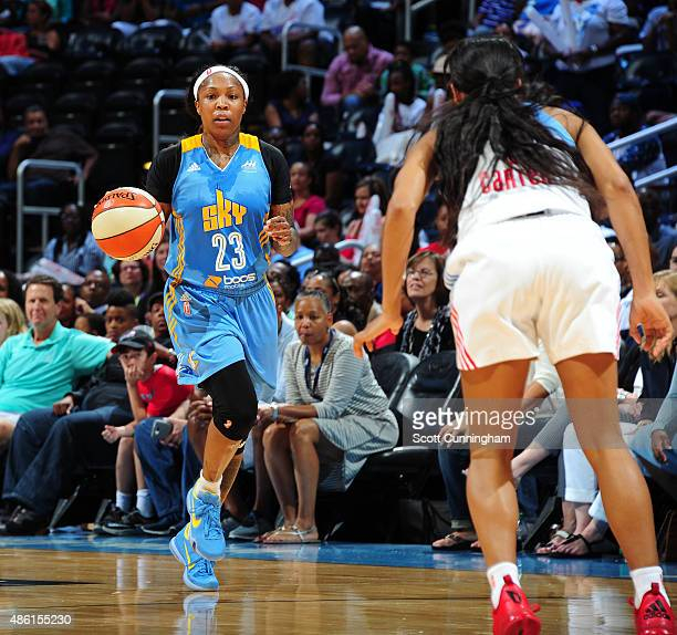 Cappie Pondexter of the Chicago Sky dribbles the ball up court against the Atlanta Dream on August 29 2015 at Philips Arena in Atlanta Georgia NOTE...