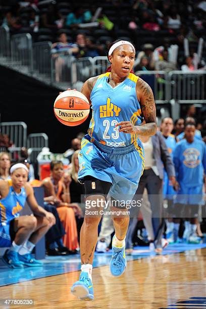 Cappie Pondexter of the Chicago Sky drives to the basket against the Atlanta Dream during the game at Philips Center on June 19 2015 in Atlanta...