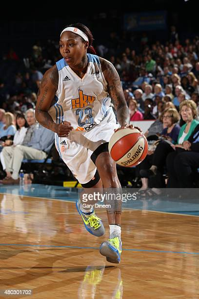 Cappie Pondexter of the Chicago Sky drives to the basket against the Minnesota Lynx on July 10 2015 at Allstate Arena in Rosemont Illinois NOTE TO...