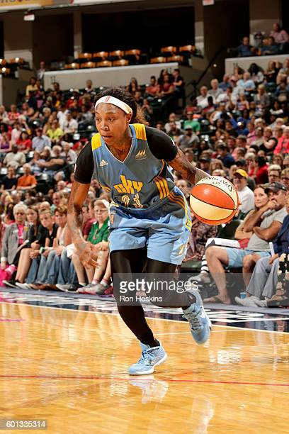 Cappie Pondexter of the Chicago Sky drives to the basket during the game against the Indiana Fever during their WNBA game at Bankers Life Fieldhouse...