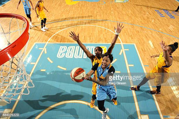 Cappie Pondexter of the Chicago Sky goes for the layup during the game against the Los Angeles Sparks on May 24 2016 at the Allstate Arena in Chicago...