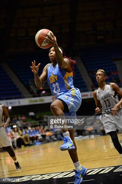 Cappie Pondexter of the Chicago Sky goes to the basket against the San Antonio Stars on June 20 2015 at Freeman Coliseum in San Antonio Texas NOTE TO...