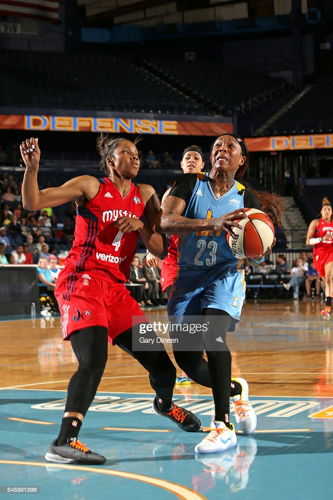 Cappie Pondexter of the Chicago Sky handles the ball against Tayler Hill of the Washington Mystics on July 1 2016 at Allstate Arena in Rosemont IL...