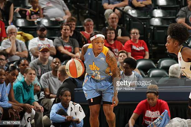 Cappie Pondexter of the Chicago Sky handles the ball against the Indiana Fever on June 26 2015 at Bankers Life Fieldhouse in Indianapolis Indiana...