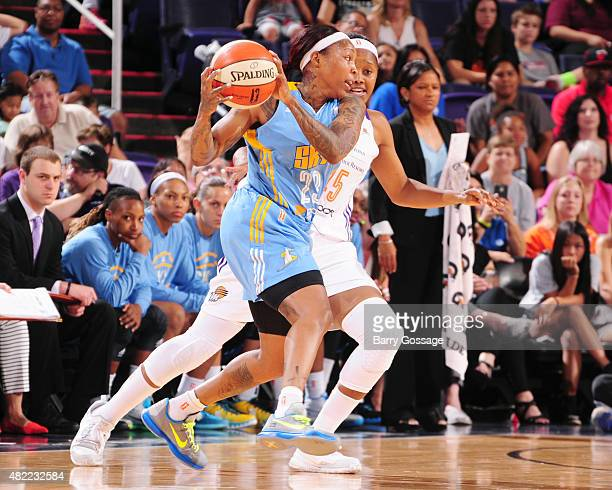Cappie Pondexter of the Chicago Sky handles the ball against the Phoenix Mercury on July 28 2015 at Talking Stick Resort Arena in Phoenix Arizona...